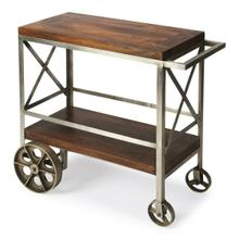 """See Details - Serve guests in style with this modern industrial trolley cart. Forged from iron, its frame has a zinc silver finish with stylish """"X """" side panels, and the mango wood top and bottom shelf have a vintage butcher block look in a clove brown finish. Use it for storage in the kitchen, dining room, bar or work space when not being used for entertaining."""