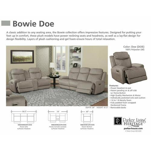 Parker House - BOWIE - DOE Power Console Loveseat