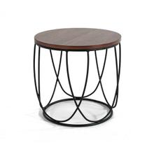 View Product - Modrest Strang Modern Walnut & Black Round End Table