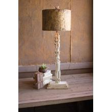 See Details - table lamp \ carved wooden base with rustic metal shade
