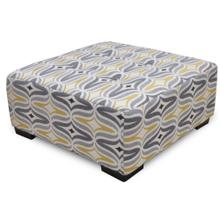 Barton Square Ottoman with Button Tufts in Chinchilla Fabric