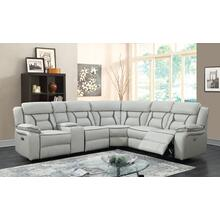 Leo Two-Tone Leather Gel White & Gray Reclining Sectional