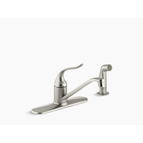 """Vibrant Brushed Nickel Three-hole Kitchen Sink Faucet With 8-1/2"""" Spout, Matching Finish Sidespray and Lever Handle"""