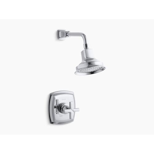 Kohler - Vibrant Brushed Bronze Rite-temp Shower Valve Trim With Cross Handle and 2.5 Gpm Showerhead