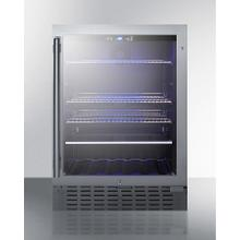 "Commercially Approved 24"" Wide Built-in Beverage Refrigerator Designed for the Display and Refrigeration of Beverages or Sealed Food, With Seamless Stainless Steel Trimmed Glass Door and Front Lock"