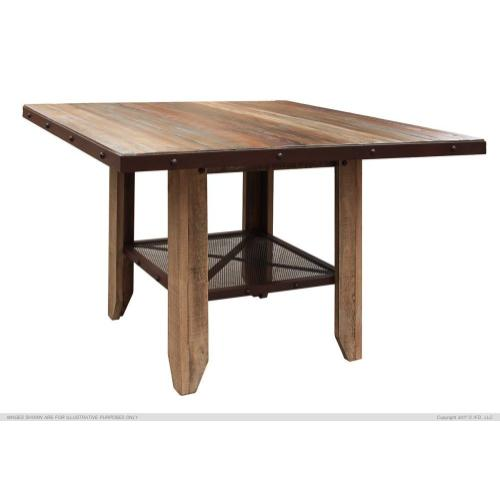 International Furniture Direct - 52in Counter Height Dining Table, Solid Wood w/iron mesh shelf