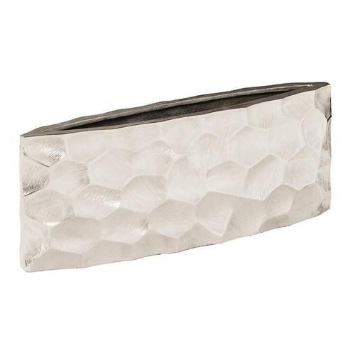 Howard Elliott - Hammered Aluminum Elongated Vase Bright Silver, Large