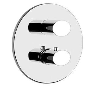 """Gessi - TRIM PARTS ONLY External parts for 2-way diverter thermostatic and volume control Single backplate 1/2"""" connections Vertical application Anti-scalding Requires in-wall rough valve 09279"""