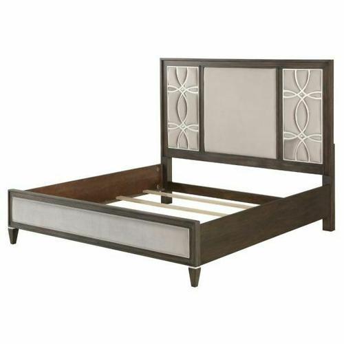 ACME Peregrine California King Bed - 28004CK - Fabric & Walnut