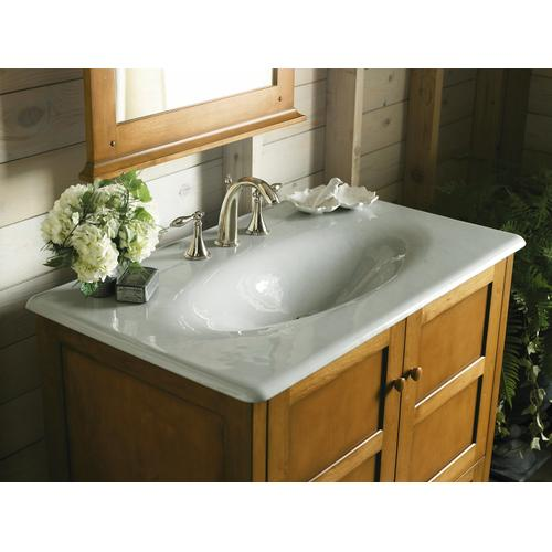 """White 37"""" Vanity-top Bathroom Sink With 8"""" Widespread Faucet Holes"""