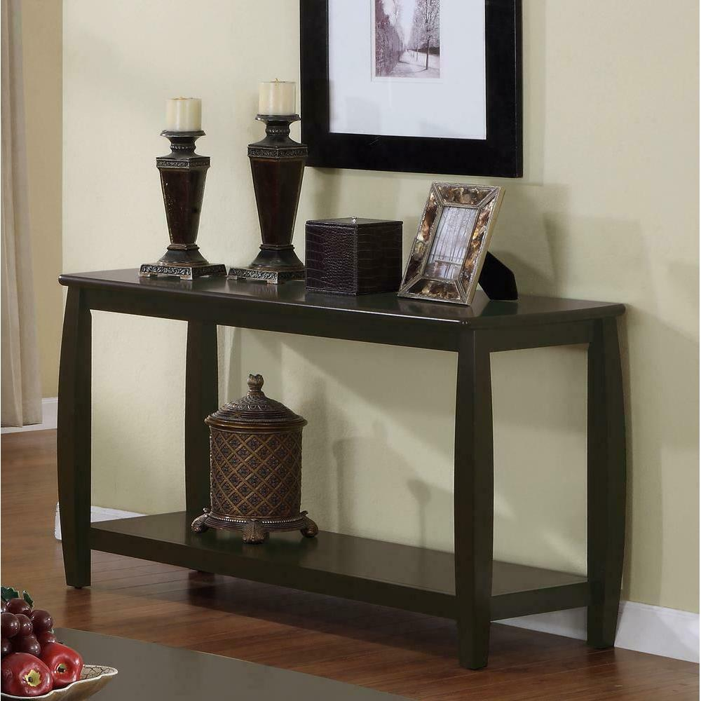 See Details - Wood Top Espresso Sofa Table