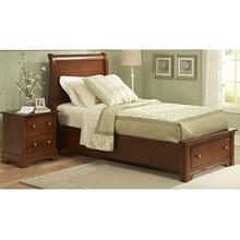 Sleigh Bed with Footboard Storage Twin & Full (shown in Cherry finish)