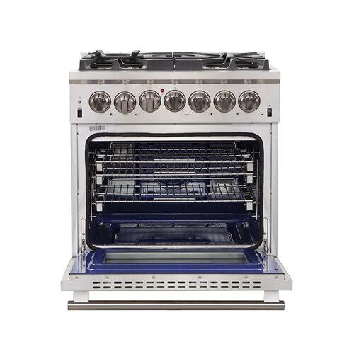 """Forno - Capriasca - Titanium Professional 30"""" Freestanding Dual Fuel Range 240V Electric Oven and Gas Surface"""