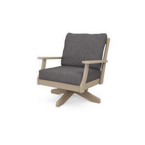 Polywood Furnishings - Braxton Deep Seating Swivel Chair in Vintage Sahara / Ash Charcoal