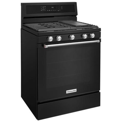 KitchenAid - 30-Inch 5-Burner Gas Convection Range Black
