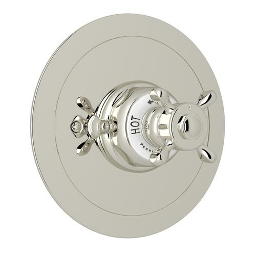 Polished Nickel Perrin & Rowe Edwardian Era Round Thermostatic Trim Plate Without Volume Control with Edwardian Cross Handle
