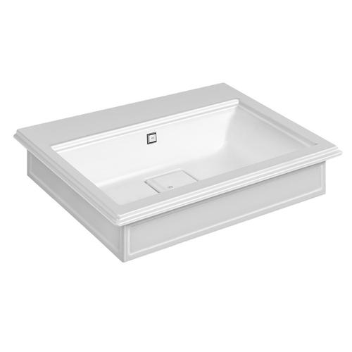 """Wall-mounted or counter-top washbasin in Cristalplant® with overflow waste Matte white 20-9/16"""" L x 27-9/16"""" W x 5-7/8"""" H Ove rflow cap in finish 031 chrome - see 46763 for more finish options Includes Cristalplant drain cover May be drilled on-site fo r single or 3 hole washbasin mixer CSA certified"""
