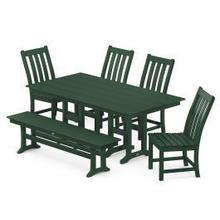 View Product - Vineyard 6-Piece Farmhouse Trestle Arm Chair Dining Set with Bench in Green