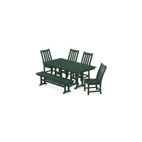 Polywood Furnishings - Vineyard 6-Piece Farmhouse Trestle Arm Chair Dining Set with Bench in Green