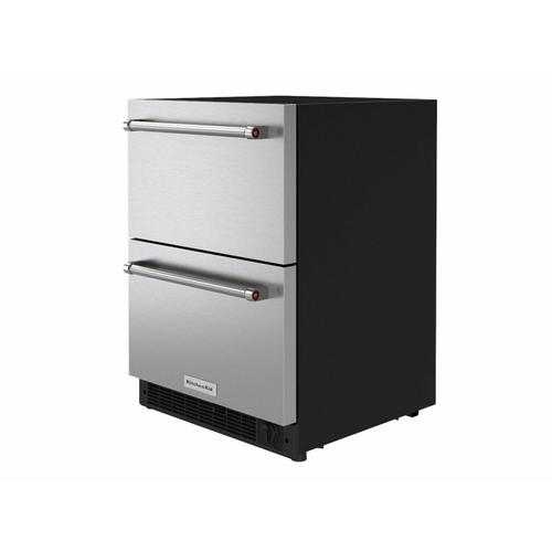 """KitchenAid Canada - 24"""" Panel-Ready Undercounter Double-Drawer Refrigerator/Freezer - Stainless Steel"""