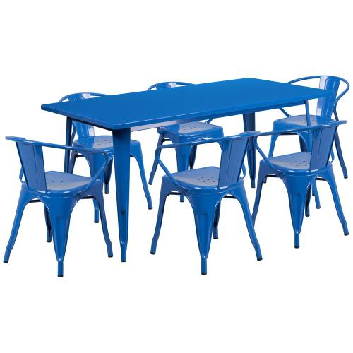 31.5'' x 63'' Rectangular Blue Metal Indoor-Outdoor Table Set with 6 Arm Chairs