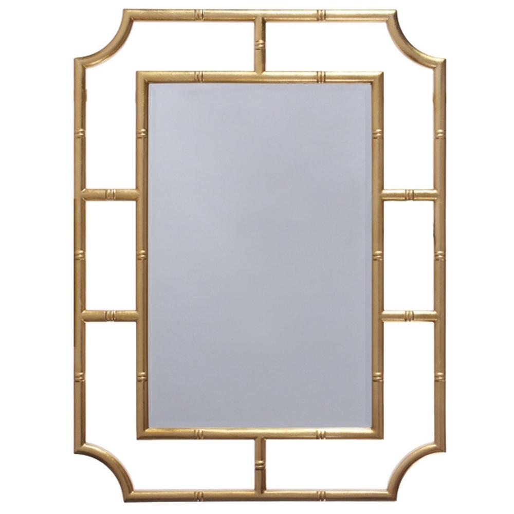 With Its Tropical Asian Flair, Our Marian Mirror Is At Home In Your Mid Century or Coastal Getaway! Hand Finished In Gold Leaf.