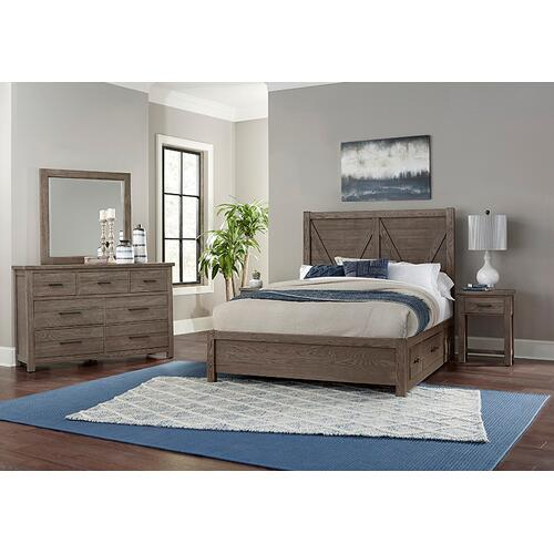 Queen V Panel Bed with 1 side storage unit