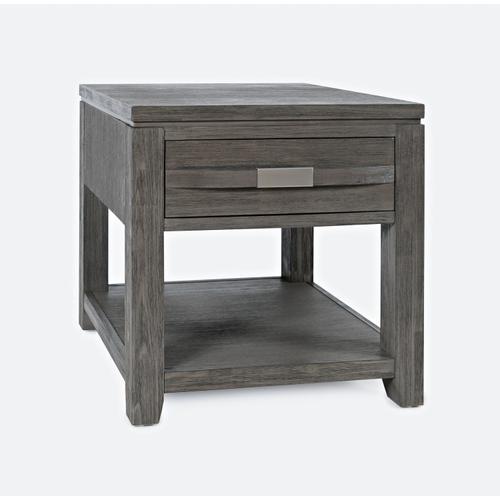 Altamonte End Table W/ Shelf - Brushed Grey