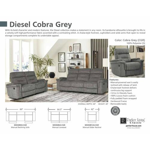DIESEL - COBRA GREY Manual Reclining Collection