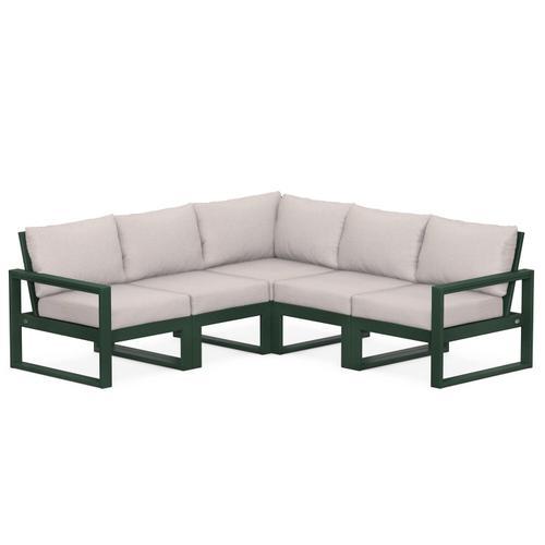 Polywood Furnishings - EDGE 5-Piece Modular Deep Seating Set in Green / Dune Burlap