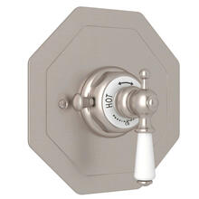 Edwardian Octagonal Concealed Thermostatic Trim without Volume Control - Satin Nickel with Metal Lever Handle
