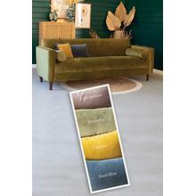 See Details - velvet sofa with two bolster pillows \ steel blue