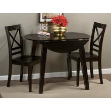 Simplicity Espresso Round Dropleaf Table With Four Slat Back Dining Chairs