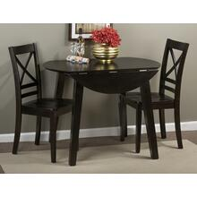 Simplicity Espresso Round Dropleaf Table With Two Slat Back Dining Chairs