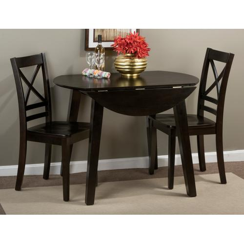 Simplicity Espresso Round Dropleaf Table With Two X Back Dining Chairs