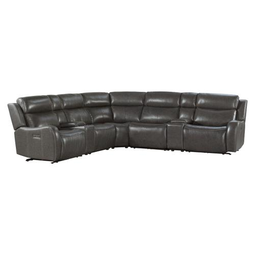 See Details - Wainwright Dual-Power Sectional Set  Charcoal Gray