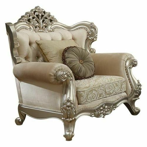 ACME Bently Chair w/2 Pillows - 50662 - Fabric & Champagne