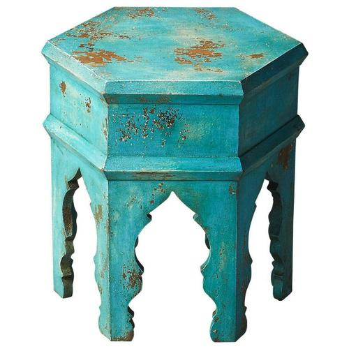 Butler Specialty Company - This hexagonal Moroccan-inspired bunching table is crafted from mango wood solids. It features a heavily distressed blue finish. Its versatility and scale allow it to be used alone or bunched in multiples to create a larger table surface or even used as a stool for extra seating.