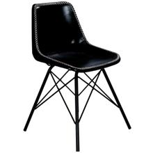 See Details - Mid-century modern with a contemporary twist: this go-everywhere molded chair form gets an upgrade with a stitched leather cover and sturdy black iron frame. Think home office, dining room or dorm!