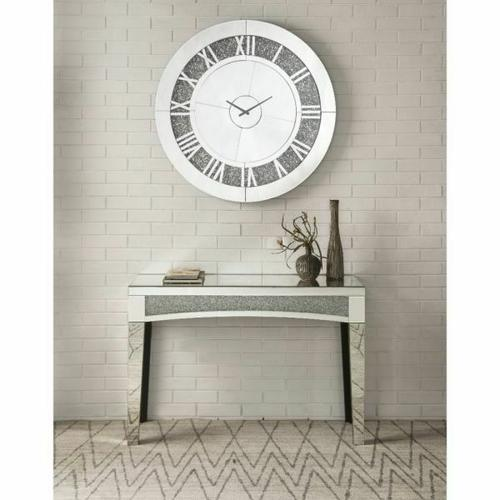 ACME Noralie Wall Clock - 97723 - Glam - Mirror, Glass, MDF, Faux Diamonds (Acrylic) - Mirrored and Faux Diamonds