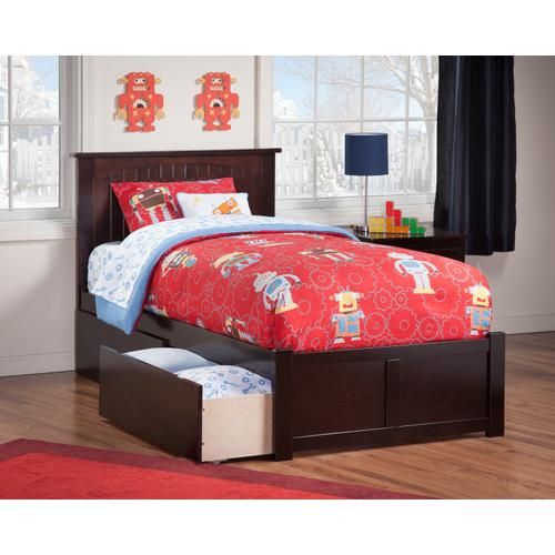 Nantucket Twin Flat Panel Foot Board with 2 Urban Bed Drawers Espresso