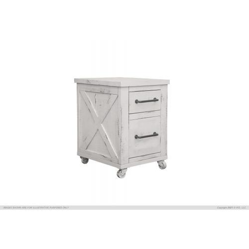 See Details - 2 Drawer Storage Cabinet w/Iron Base & Wheels