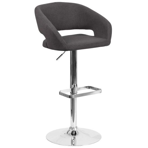Alamont Furniture - Contemporary Charcoal Fabric Adjustable Height Barstool with Chrome Base