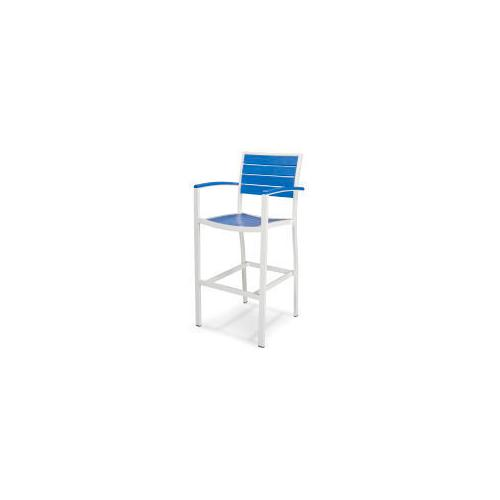 Polywood Furnishings - Eurou2122 Bar Arm Chair in Satin White / Pacific Blue