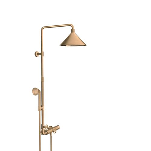 Brushed Bronze Showerpipe with thermostat and overhead shower 240 2jet