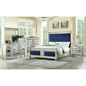 ACME Varian Queen Bed - 26150Q - Blue Velvet & Mirrored