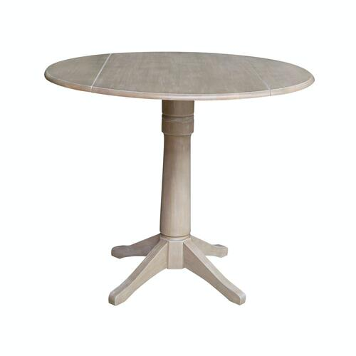 John Thomas Furniture - Round Dropleaf Pedestal Table in Taupe Gray