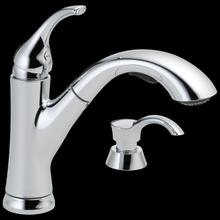 Chrome Single Handle Pull-Out Kitchen Faucet with Soap Dispenser