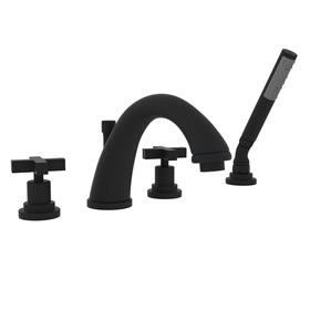 Matte Black Lombardia 4-Hole Deck Mount C-Spout Tub Filler With Handshower with Cross Handle