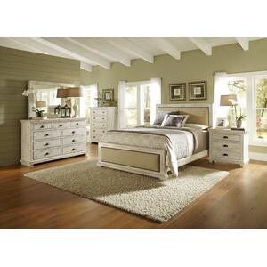 King Complete Upholstered BEd - Distressed White Finish